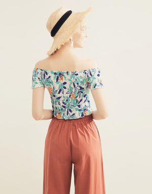 Printed Shirred Off Shoulder Top
