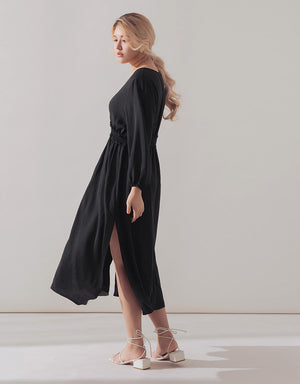 V-Neck Shirred Waist Slit Chiffon Dress