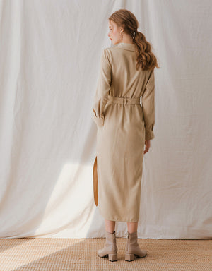 Corduroy Long Sleeve Belted Blouse Dress
