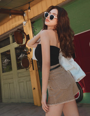 Slimming Distressed Hem Belted Shorts
