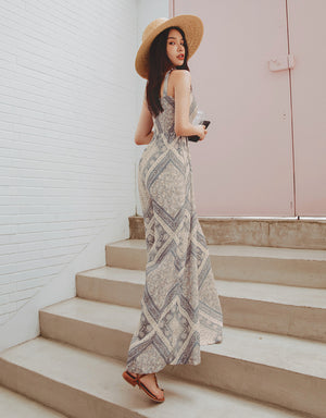 2Way Printed Elastic Chiffon Wide-Leg Jumpsuit