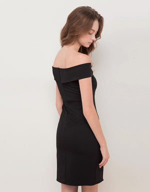 OFF SHOULDER LAPEL BODYCON DRESS