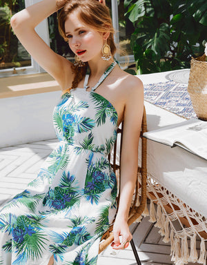 Tropical Halter Neck Slit Dress
