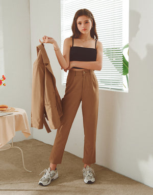 Textured Slimming Cropped Suit Pants