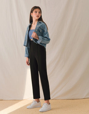 Wrinkle-Free High-Waisted Slimming Cropped Pants