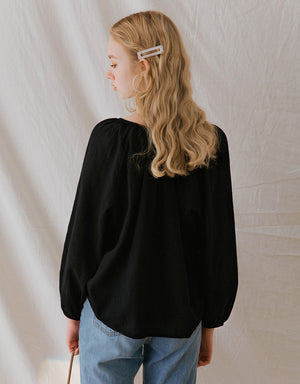 Cotton Buttoned Long Sleeve Loose Top