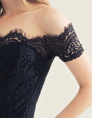 Off Shoulder Eyelash Lace Bustier Top