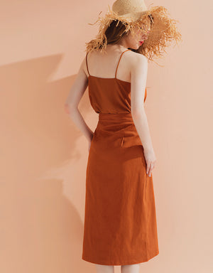 Plain Front Slit Midi Dress