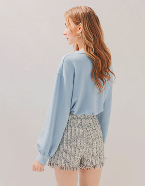 Button Down Puff Sleeves Drawstring Knitted Crop Top