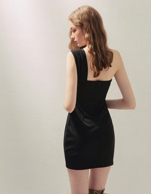 One Shoulder Shirred Cami Dress (with Padding)