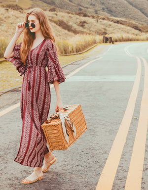 Vacationist V-Neck Slit Bohemian Maxi Dress