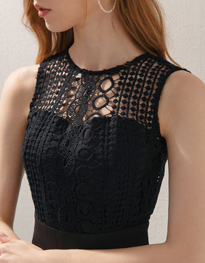 Carved Lace Hollow Back Sleeveless Jumpsuit