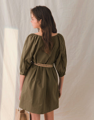 V-Neck 1/2 Sleeves Button Down Belted Dress
