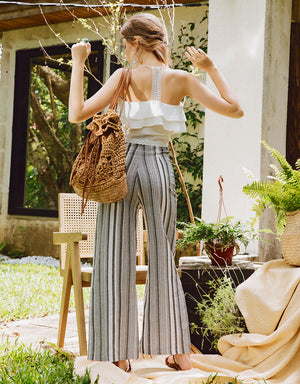 Striped Cotton High Waisted Trousers