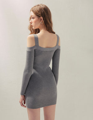 Bodycon Cold Shoulder Long Sleeve Knitted Dress