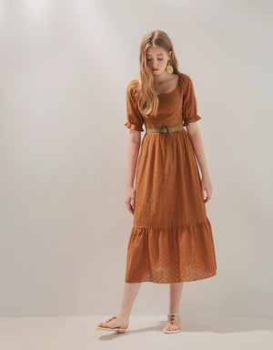 2Way Broderie Splice Ruffle Midi Belted Dress
