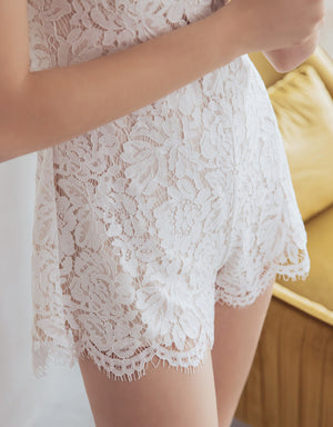 Eyelash Lace Halter Playsuit