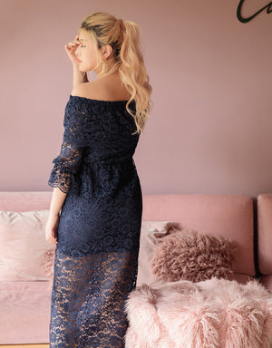 Off Shoulder Lace Jacquard Long Dress