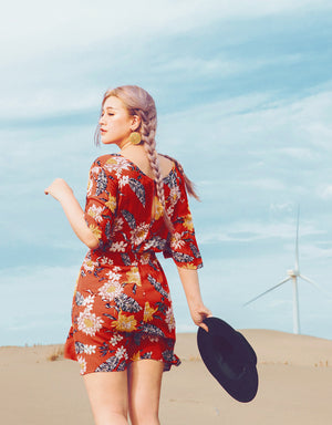 Tropical V Neck Button Up Flare Dress