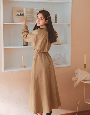 Vintage Turndown Collar Shirt Maxi Dress