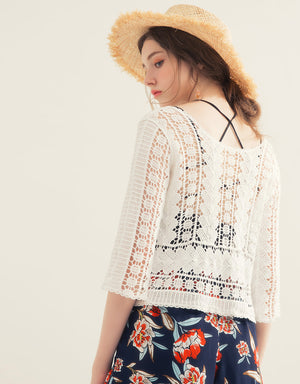 Hollow-carved 3/4 Sleeve  Knitted Top