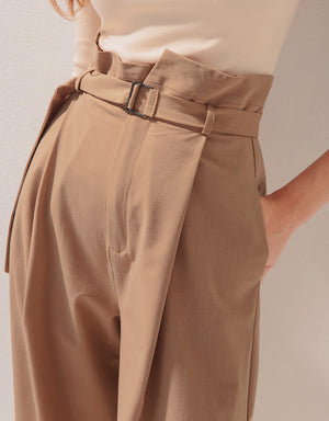 High-Waisted Pleated Belted Wide Pants