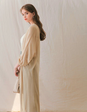 Transparent Fine Knitted Long Cardigan