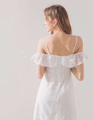 Romantic Eyelash Lace Cold Shoulder Dress