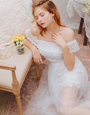 3 WAY Romantic Mesh Lace Off Shoulder Dress