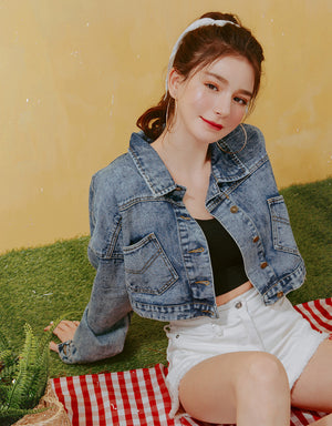 Chic Sloping Pocket Crop Denim Jacket