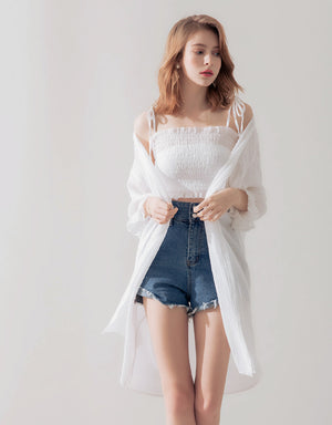 Shirred Camisole Cardigan Set