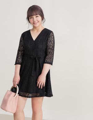Romantic Lace V Neck Flare Dress