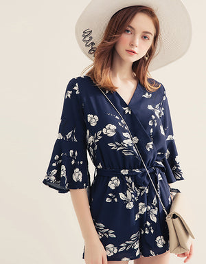Cross Neck Floral Print Jumpsuit
