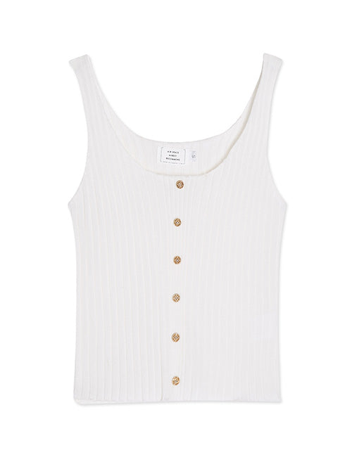 Button Through Stripe Tank Top
