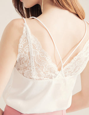 Lace Splice Cross Strap Satin Camisole