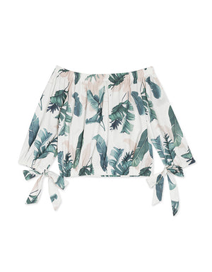 Off Shoulder Leave Print Top