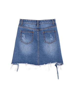 Ripped Denim Mini Skirt