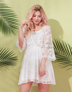 V-Neck Lace Dress with Inner