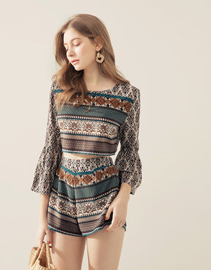 Ornate Print Trumpet Sleeve Top& Bottom