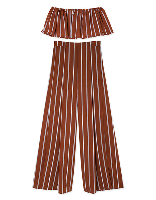 Strap Stripe Wide-leg Top & Bottom