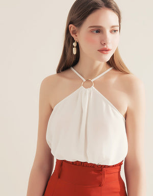 2 WAY Metal Ring Halter Chiffon Top
