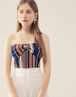 Bow Stripe Tube Top