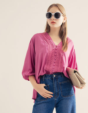 V Neck Lace 3/4 Balloon Sleeve Button Blouse