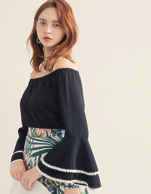 Off Shoulder Long Fluted Sleeve  Crop Top