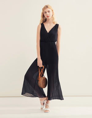 Sleeveless Pleated Jumpsuit with Open Back