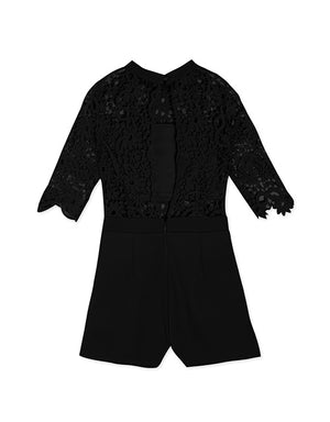 Open Back Lace Playsuit with Inner