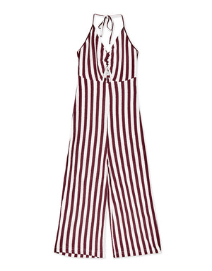 V Neck Open Back Striped Jumpsuit