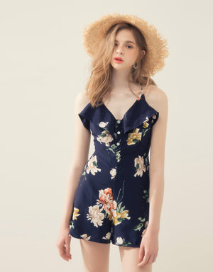 Ruffle V Neck Cami Straps Floral Print Playsuit