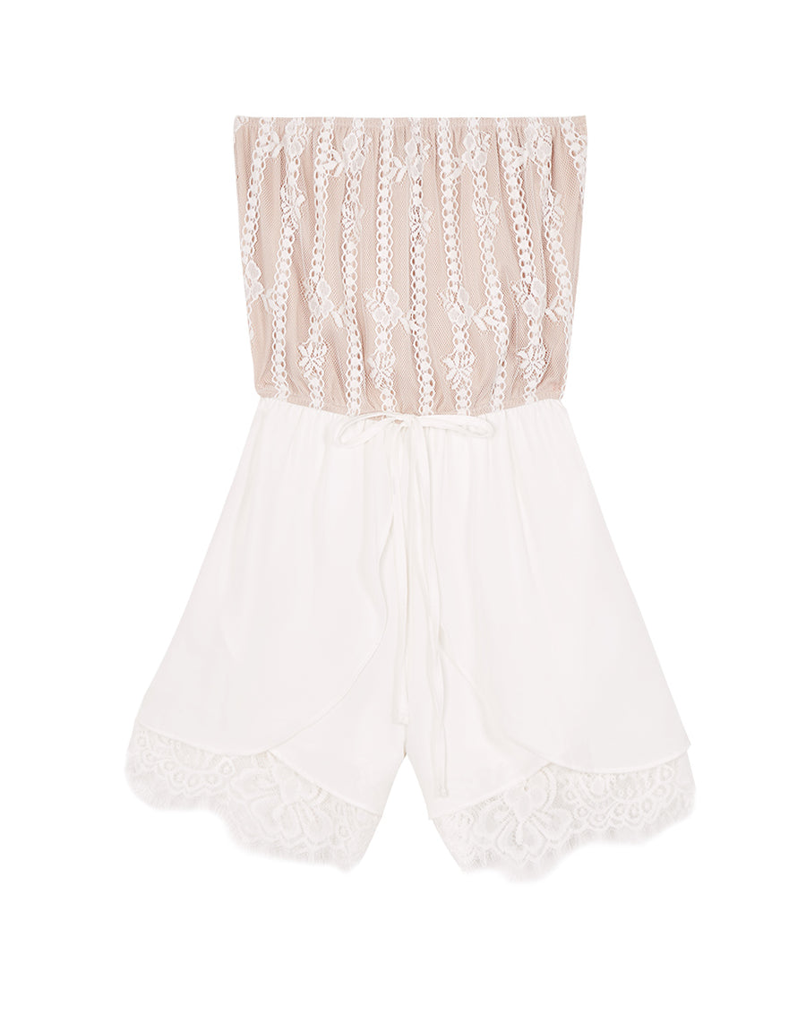 Eyelash Lace Layered Tube Playsuit