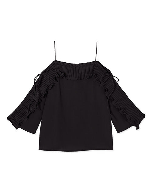 CHIAO Off Shoulder Strap Pleated Flounce Half Sleeve Blouse